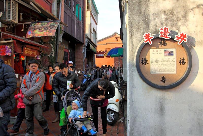 Рынок Street.Taiwan Lugangs старый стоковые фотографии rf
