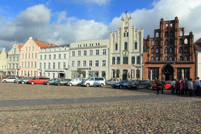 Рыночная площадь в Wismar стоковые изображения