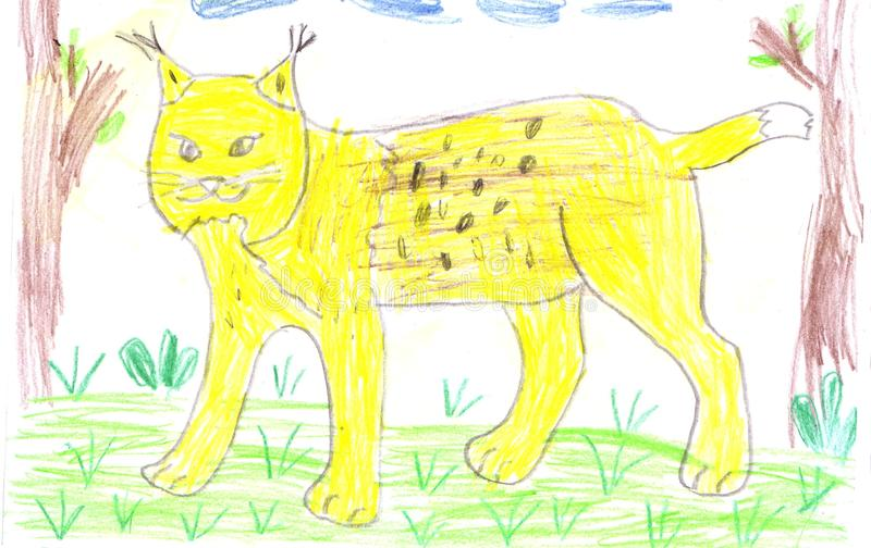 Рысь ребенка рисуя желтый в лесе бесплатная иллюстрация