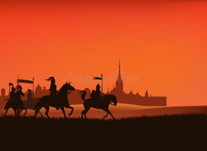 Рыцари и средневековая сцена силуэта вектора города замка бесплатная иллюстрация