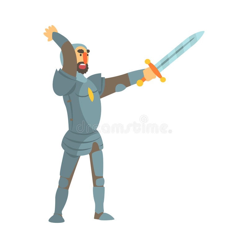 Рыцарь атакуя с полным характером шаржа сказки бронежилета и шпаги ребяческим иллюстрация вектора