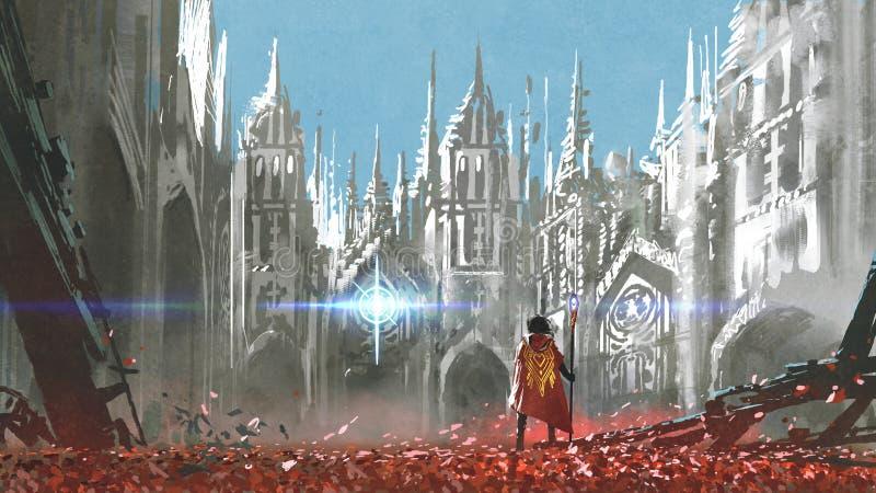 Рыцарь в готической земле иллюстрация вектора