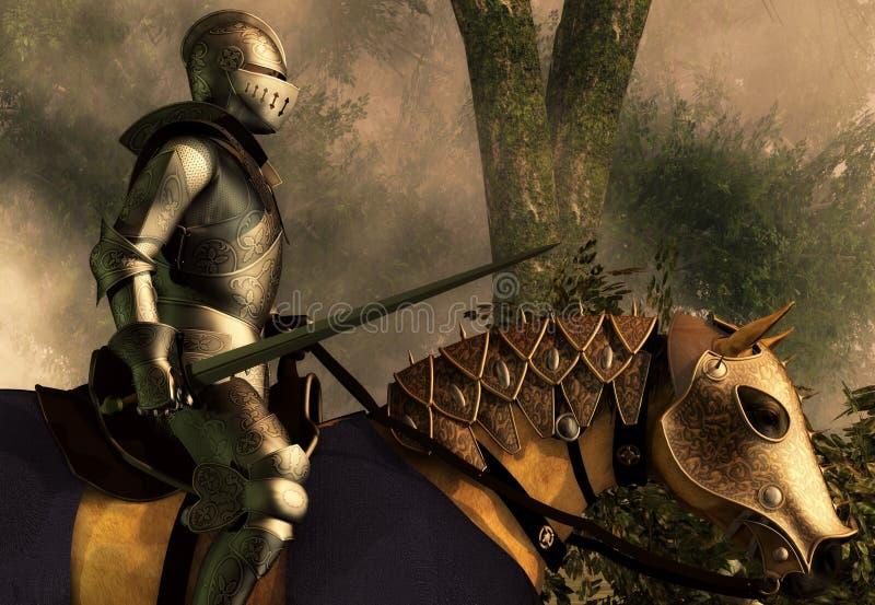 Рыцарь в туманном лесе иллюстрация вектора