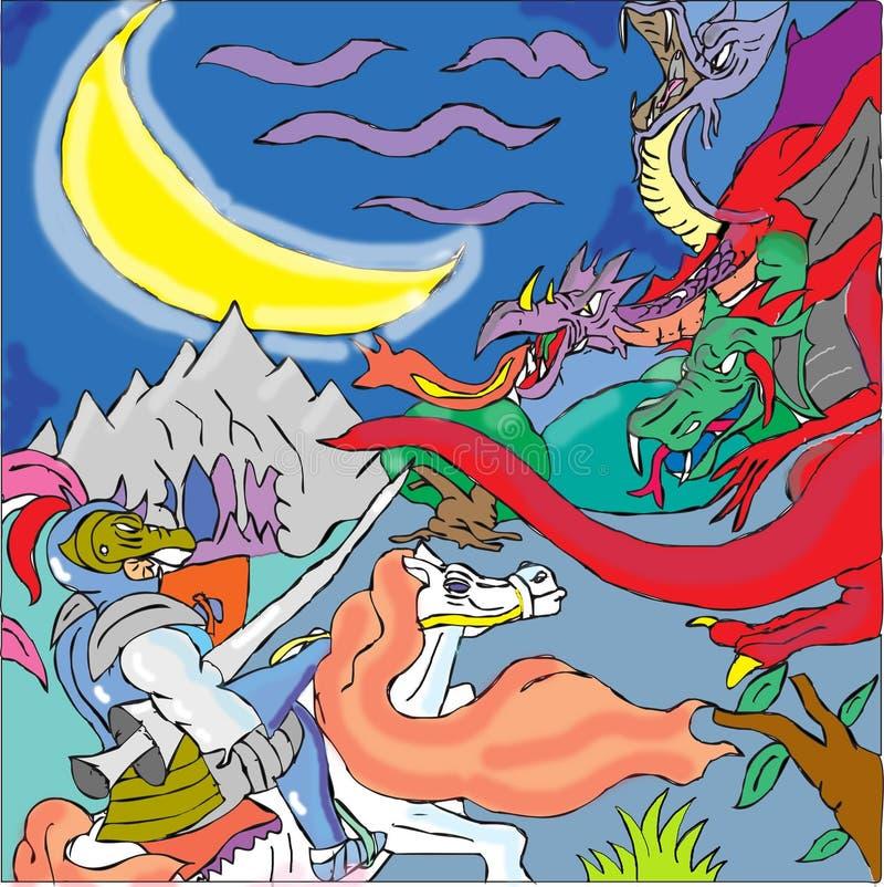 Рыцарь и 3 возглавили дракона бесплатная иллюстрация