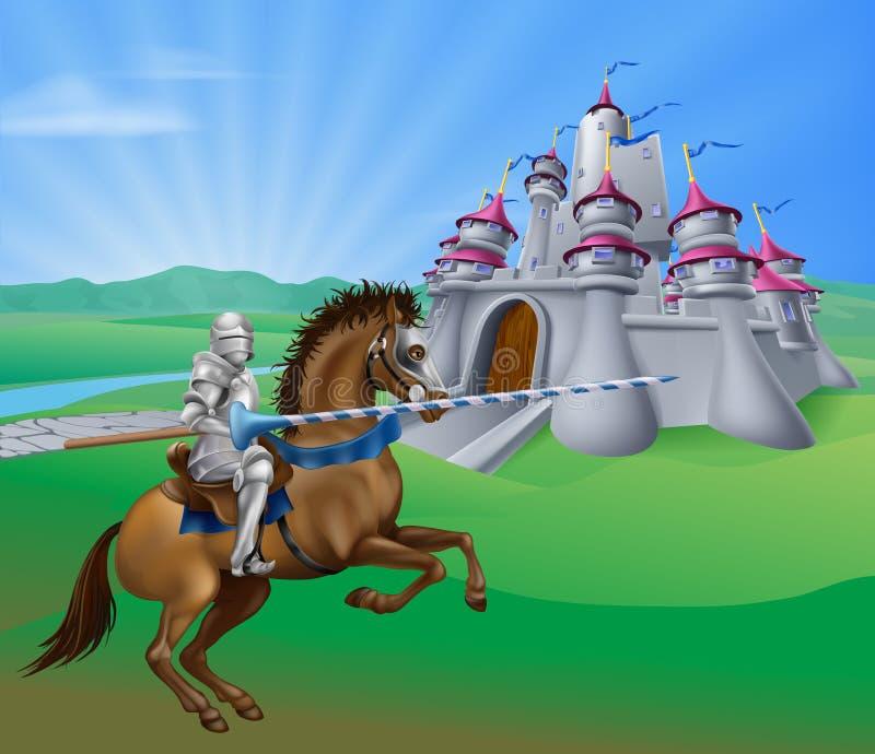 Рыцарь и замок иллюстрация вектора