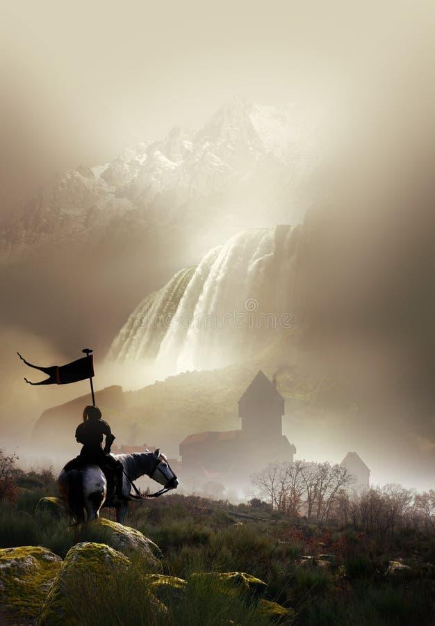 Рыцарь и замок бесплатная иллюстрация