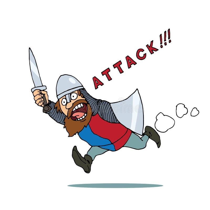 Рыцарь карикатуры идет на нападение иллюстрация вектора