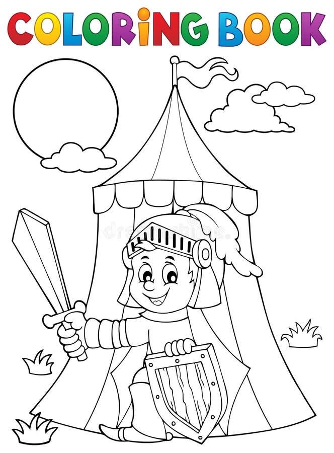 Рыцарь книжка-раскраски темой 1 шатра бесплатная иллюстрация