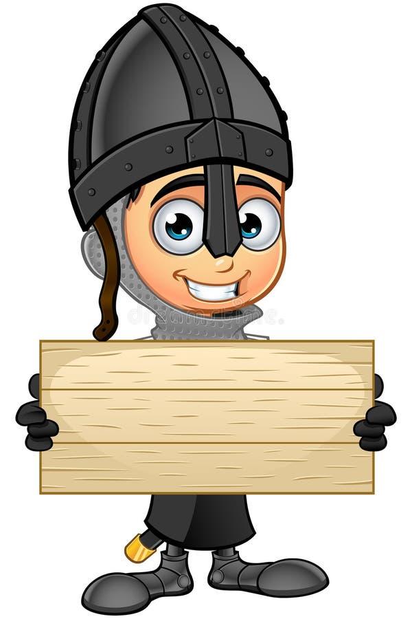 Рыцарь мальчика черный - держать деревянный знак иллюстрация штока