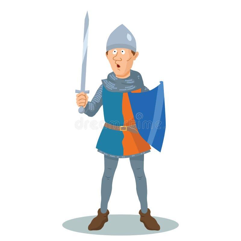 Рыцарь мультфильма в цепной почте с экраном и шпагой иллюстрация вектора