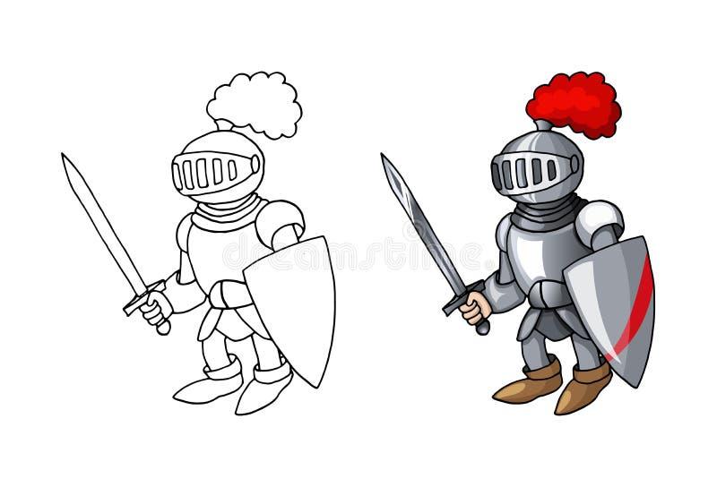 Рыцарь мультфильма средневековый с экраном и шпагой, изолированными на белой предпосылке иллюстрация штока