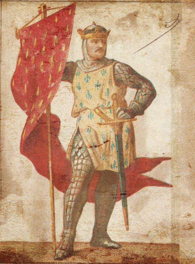 Рыцарь на винтажной бумаге иллюстрация вектора