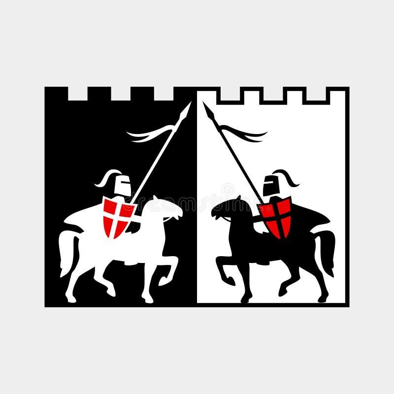 Рыцарь на лошади иллюстрация штока