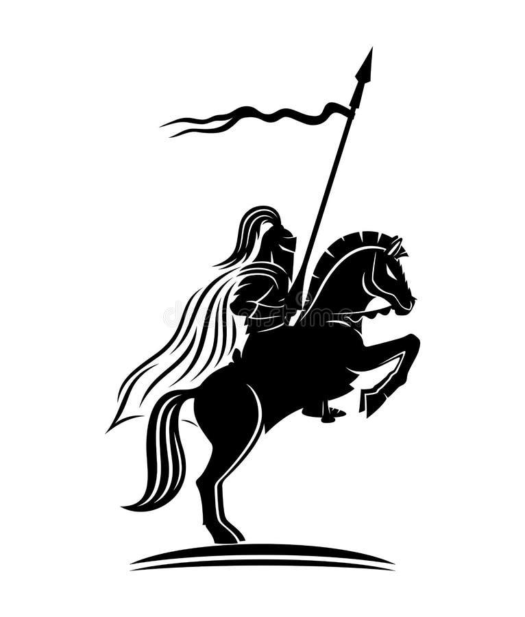 Рыцарь на лошади иллюстрация вектора