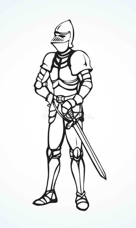 Рыцарь предпосылка рисуя флористический вектор травы иллюстрация вектора