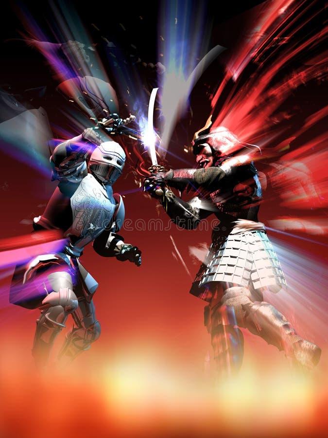 Рыцарь против самураев иллюстрация вектора