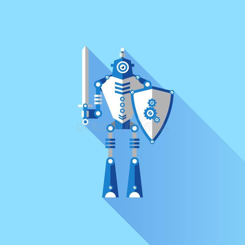 Рыцарь робота иллюстрации вектора с шпагой иллюстрация вектора