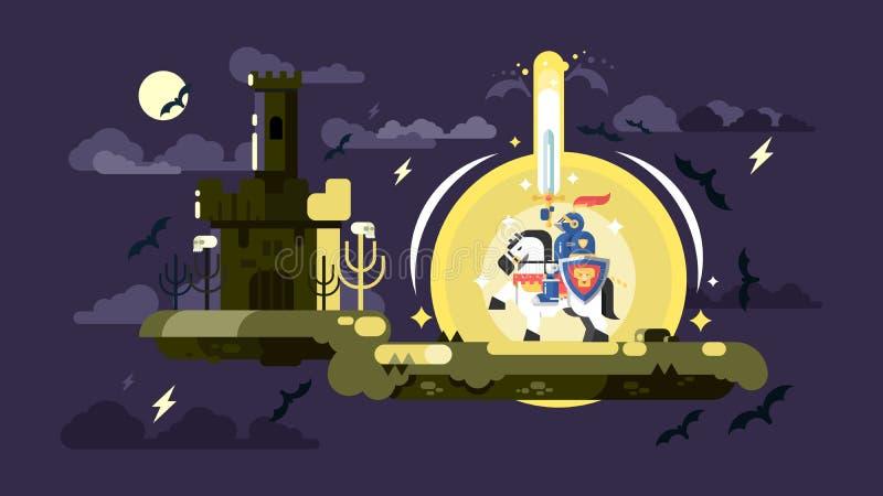 Рыцарь с сияющей шпагой бесплатная иллюстрация