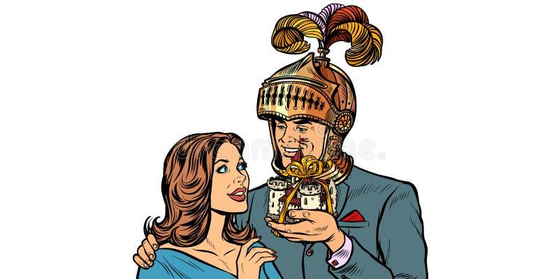 Рыцарь человека дает женщине замок Изолят на белой предпосылке иллюстрация вектора
