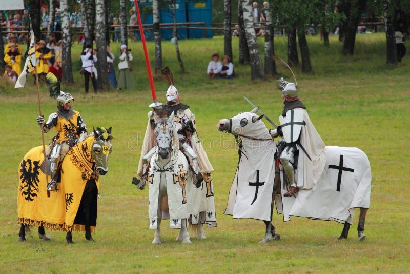3 рыцаря на лошадях от Teutonic заказа стоковое фото rf