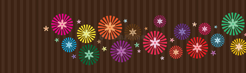 Рэй внутри знамени стиля цветка горизонтального иллюстрация штока
