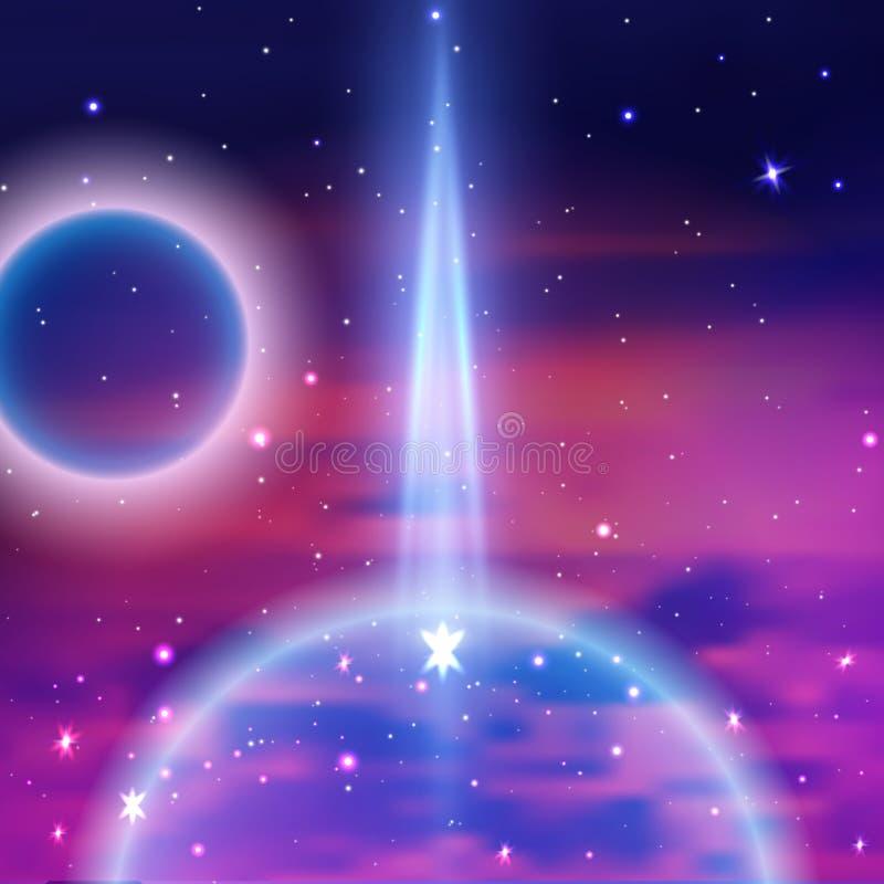 Рэй света в космосе к земле Горизонт земли планеты, от космоса, млечный путь, вектор бесплатная иллюстрация