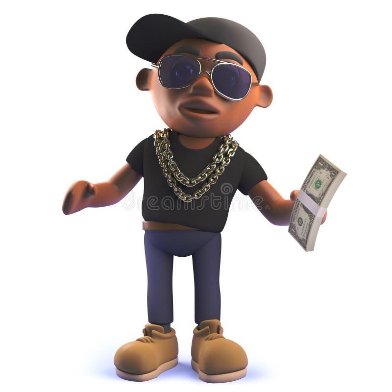 Рэппер hiphop афроамериканца черноты мультфильма в 3d держа валюшку долларовых банкнот иллюстрация вектора