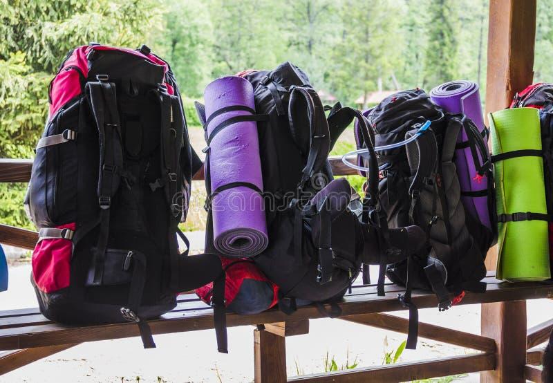 Рюкзаки туристов стоковые фото