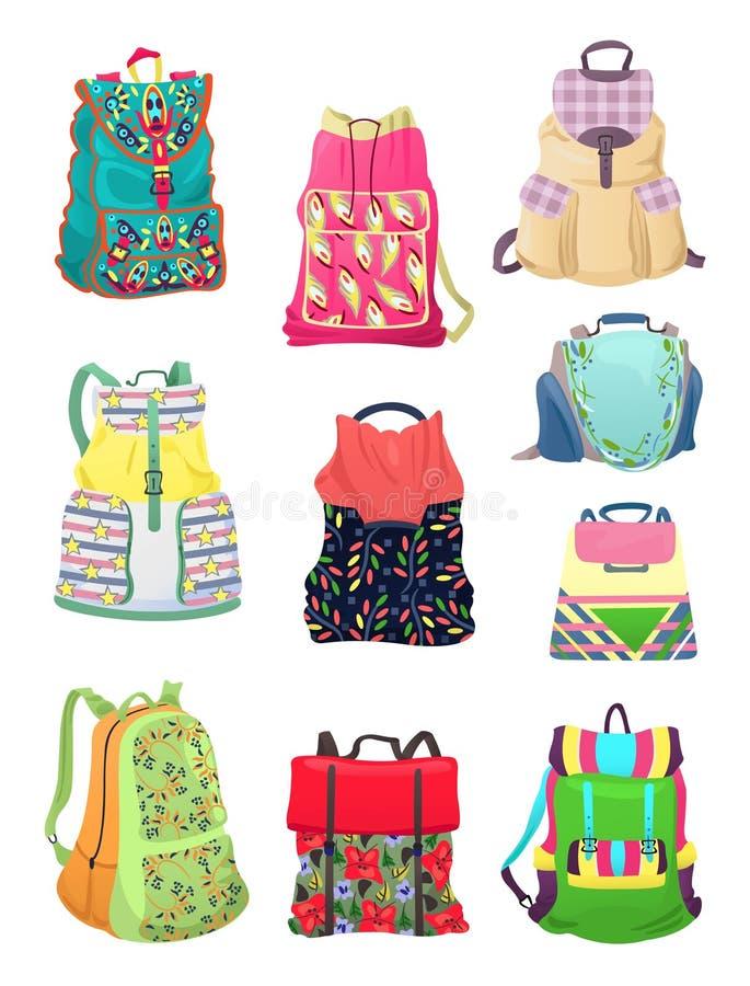 Рюкзаки для девушек иллюстрация вектора