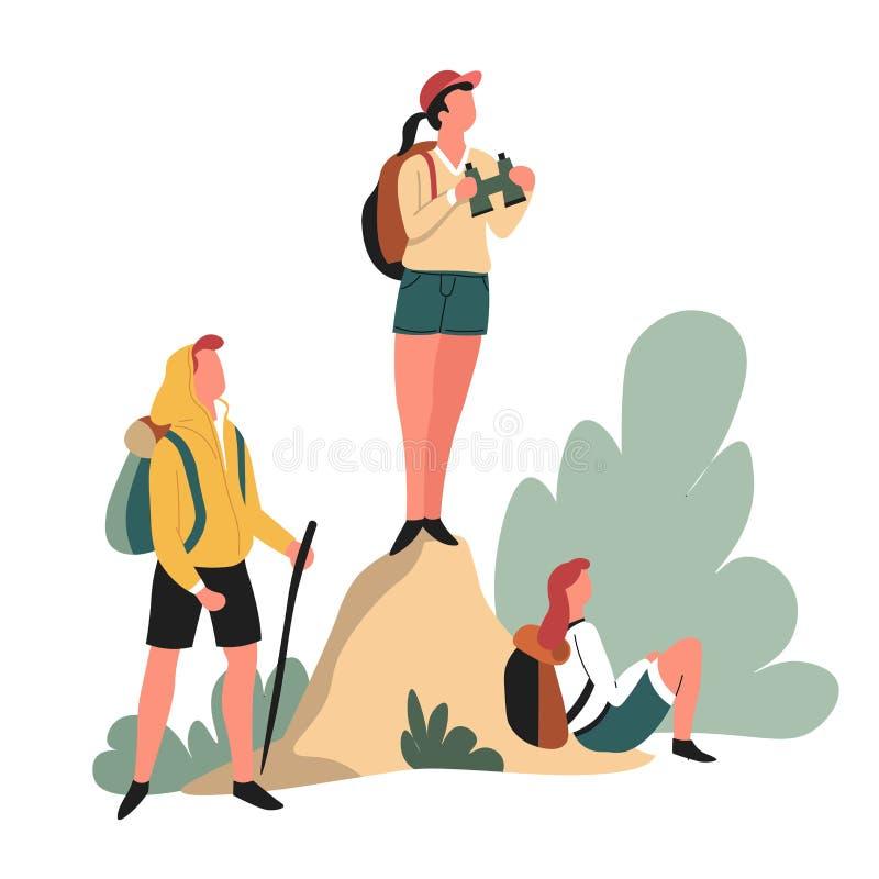 Рюкзаки Hikers и бинокулярный пеший путешествовать мероприятий на свеже бесплатная иллюстрация