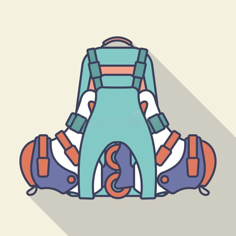 Рюкзак и встроенные коньки ролика r иллюстрация штока