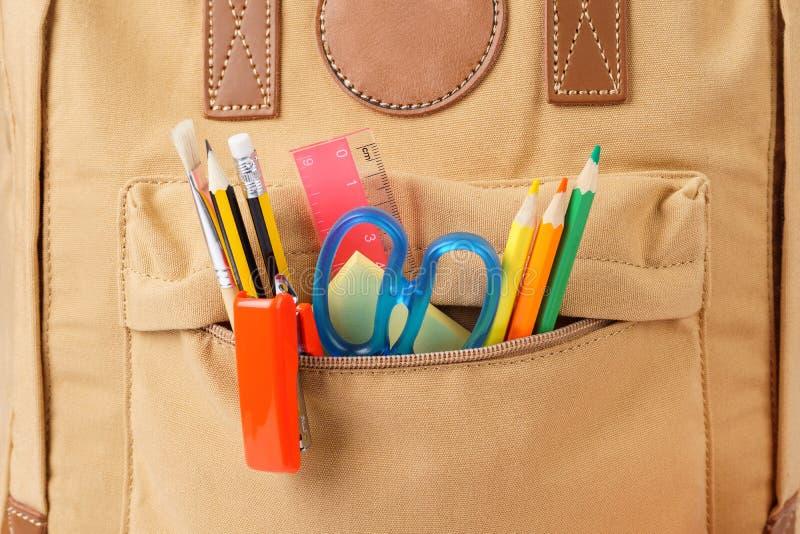 Рюкзак школы Брауна вполне различных канцелярских принадлежностей E стоковые изображения rf