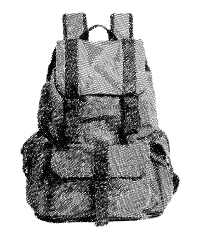 Рюкзак эскиза девушки стоковое изображение rf