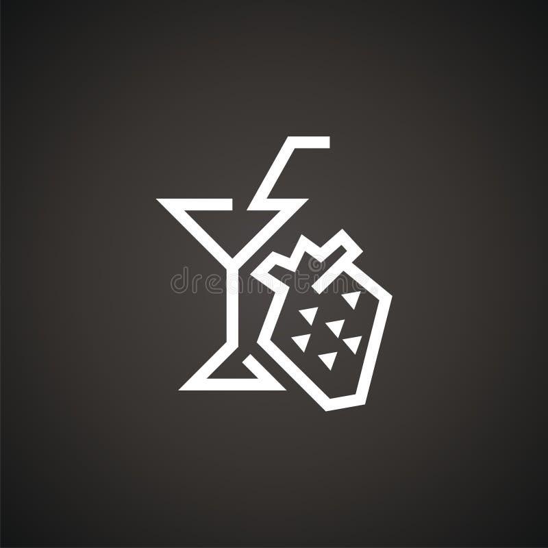 Рюмка логотипа вектора с клубникой иллюстрация штока