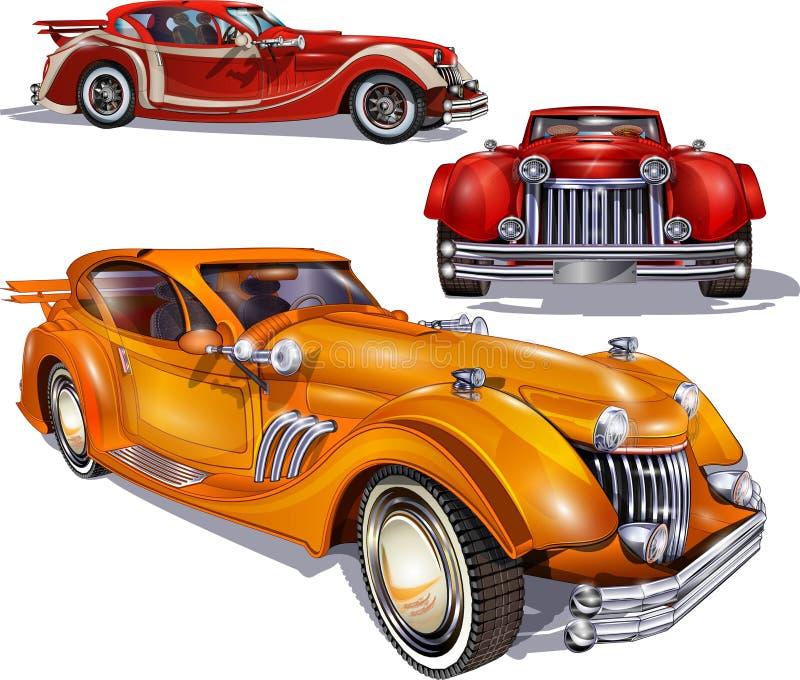 рядок автомобилей ретро иллюстрация вектора