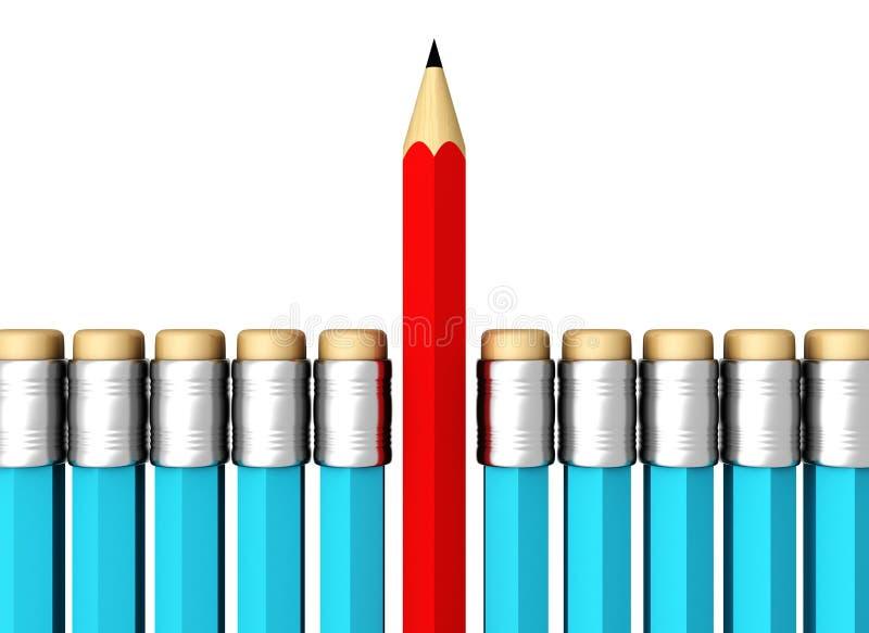 Рядок голубых карандашей с одним выбранным красным цветом на белизне бесплатная иллюстрация