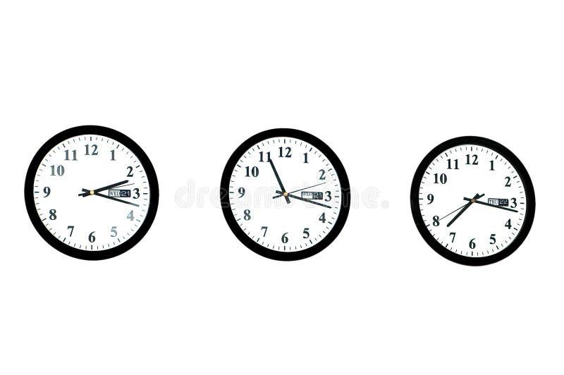рядок изолированный часами стоковые изображения rf