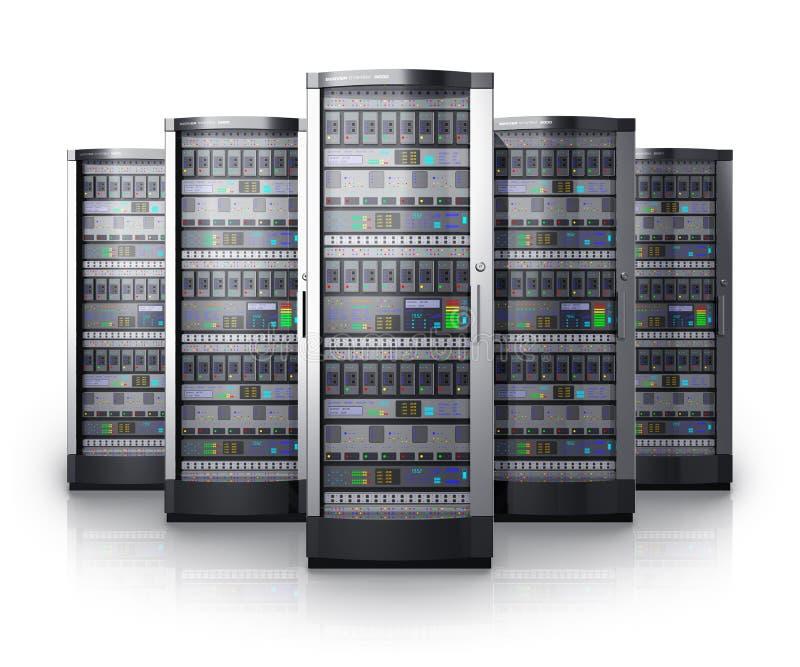 Рядок серверов сети в центре данных бесплатная иллюстрация