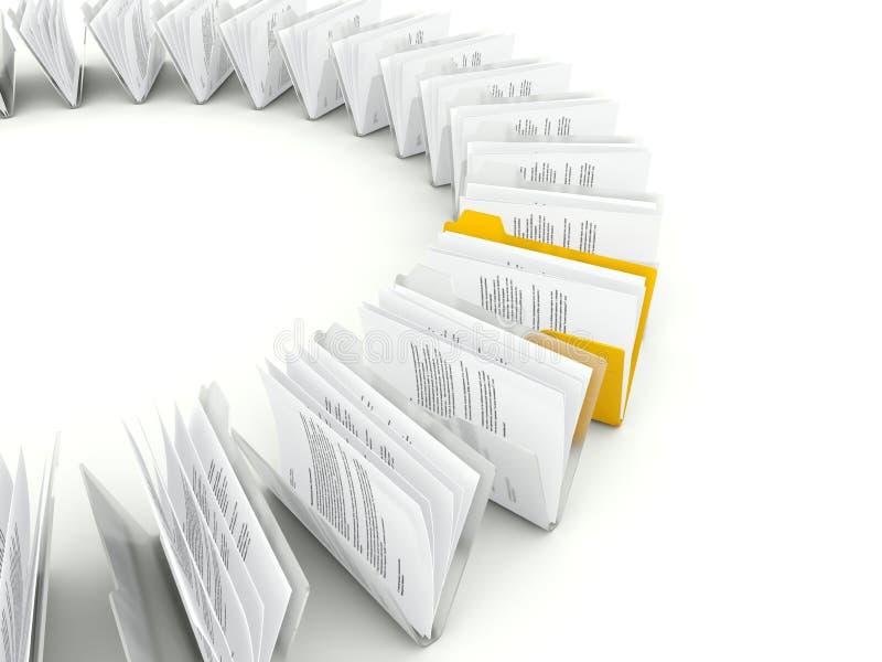 Рядок скоросшивателей с архивами иллюстрация вектора