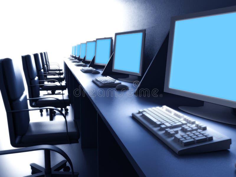 рядок стола компьютеров иллюстрация вектора