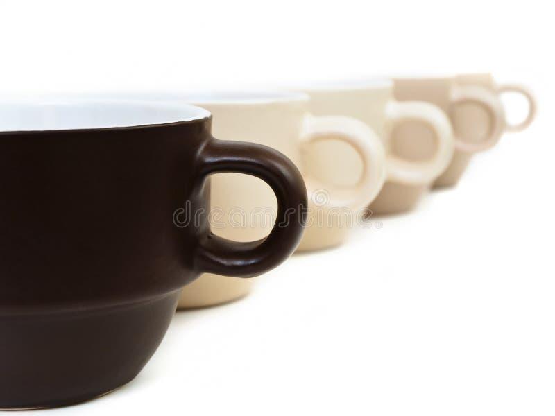 рядок чашек стоковое изображение rf