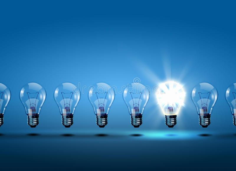 Рядок электрических лампочек иллюстрация штока