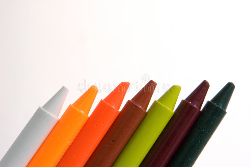 рядок crayons стоковая фотография