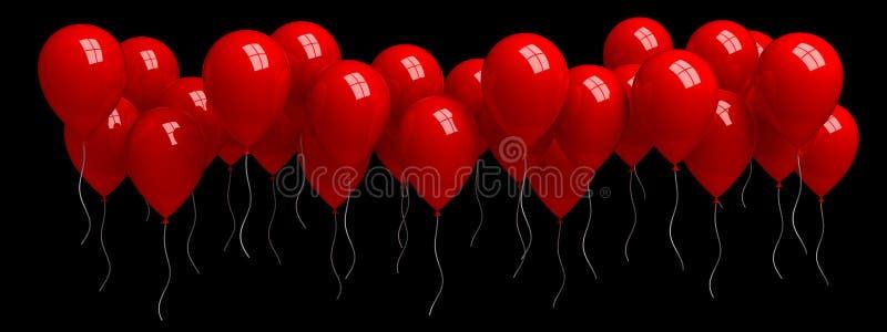 Ряд красных воздушных шаров, изолированных от черного бесплатная иллюстрация