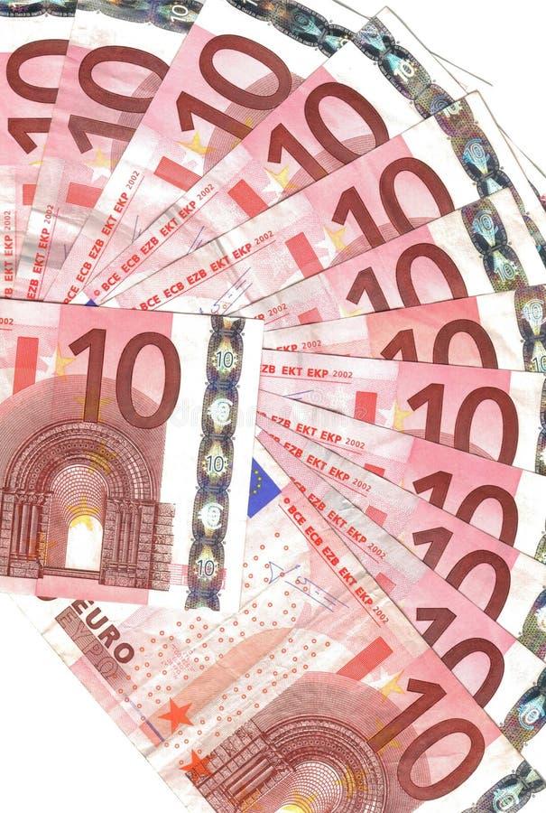 ряд 10 евро кредиток стоковые фотографии rf
