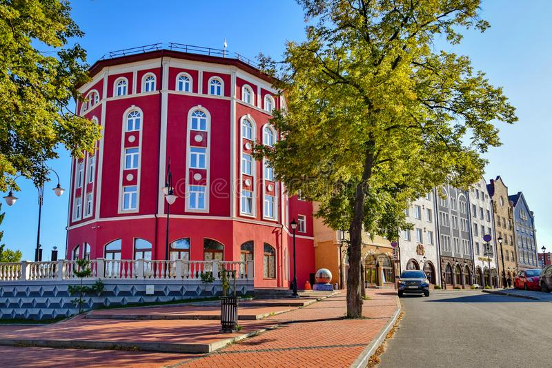 Scenic view of the Ryazan Old Town, Russia. Beautiful houses in Munich style built in Ryazan Old Town in 2015 royalty free stock photos