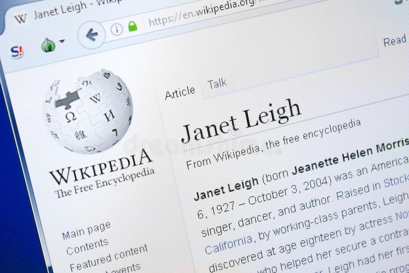 Рязань, Россия - 28-ое августа 2018: Страница Wikipedia о Джанете Leigh на дисплее ПК стоковое фото