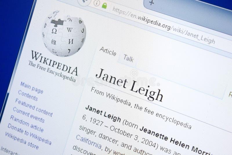 Рязань, Россия - 28-ое августа 2018: Страница Wikipedia о Джанете Leigh на дисплее ПК стоковые фото
