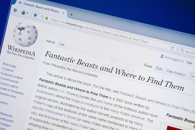 Рязань, Россия - 19-ое августа 2018: Страница Wikipedia о фантастических зверях и где найти они на дисплее ПК стоковое изображение rf