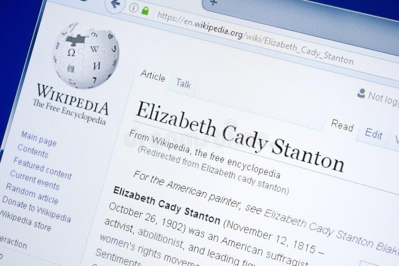 Рязань, Россия - 28-ое августа 2018: Страница Wikipedia о caddy Stanton Элизабета на дисплее ПК стоковое фото rf